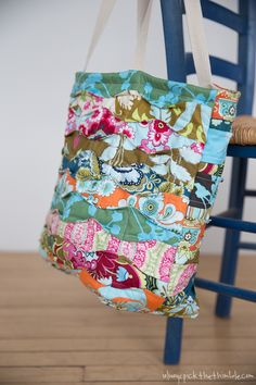 What a great name for a bag using all those scraps you have that you just can't throw away! Memory-Lane-Tote-Amy-Butler-Belle-fabrics