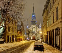 A snowy street in Montreal with Notre Dame de Bonsecours Chapel ahead. Old Montreal, Montreal Ville, Montreal Quebec, Quebec City, Montreal Travel, O Canada, Canada Travel, Great Places, Beautiful Places