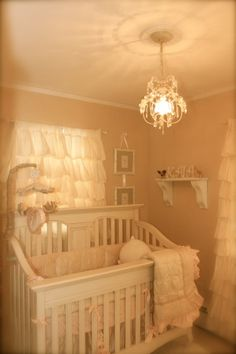 Cream Colored Nursery for Kaia, Cream, white, and peach toned nursery, with accents of ruffles and flowers., I decided to go for a natural look, so I stuck with the creams and white colors  , Nurseries   Design