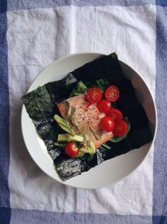 Salmon, avocado, spinach, tomatoes, and organic brown mustard in a Nori wrap.  A Whole 30 recap, at Panda Head Blog.