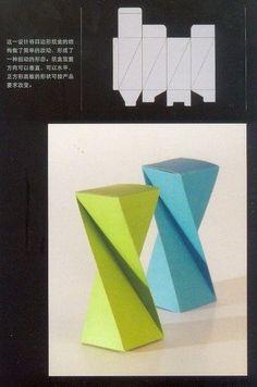 template for twisted paper box: Cajitas da Fer ♡ 3d Paper, Paper Toys, Paper Crafts, Origami And Kirigami, Origami Paper, Box Patterns, Cardboard Furniture, Paper Folding, Diy Box