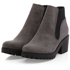 Grey Suedette Chunky Chelsea Boots ($36) ❤ liked on Polyvore featuring shoes, boots, ankle booties, gray boots, chunky boots, chunky booties, beatle boots and grey ankle booties