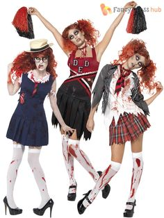 Kids zombie cheerleader costume child halloween costumes at adult ladies zombie school girl cheerleader womens halloween fancy dress costume solutioingenieria Gallery