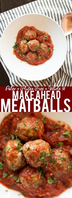 These Make Ahead Meatballs are a life saver! Make a big batch and freeze them. Then at dinner time you just need to reheat and eat! Even better, they are Paleo, Gluten Free and Whole 30 compliant!