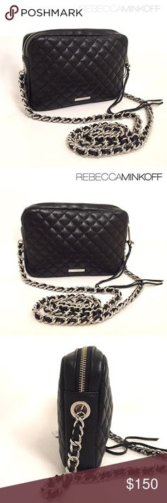 """Rebecca Minkoff Flirty Quilted Crossbody Brand new with tags. Classic design by Rebecca Minkoff. Quilted leather Crossbody. Made from genuine cowhide leather. So chic! This bag features a Quilted exterior; silvertone hardware; woven curb chain Crossbody strap with 21.5"""" drop; zip top with leather tassel pull; logo plate on back exterior wall; fabric lined interior; 1 slip pocket on the inside; measures approx. 8""""W x 5.5""""H x 1.8""""D. Reasonable offers welcome :) Rebecca Minkoff Bags Crossbody…"""