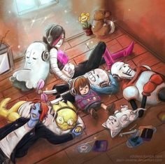 It's tradition... Undertale. I love how flowey and the angry dummy are in the corner together