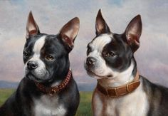 """Painting by Carl Reicher (1836-1918), """"Two French Bulldogs set in a landscape"""", oil on panel. (Vienna)"""