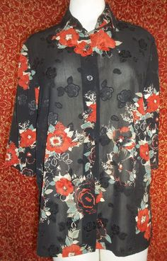 "MADE IN KOREA black floral short sleeve button front blouse BUST 46"" (T05-01G6G) #unknown #Blouse #Casual"
