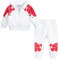 Monnalisa Baby Girls White & Red Floral Tracksuit at Childrensalon.com