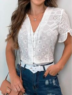 28 Lace Blouses For Work - Luxe Fashion New TrendsLuxe Fashion New Trends - Page 11 of 2665 - Luxe Casual Style, Latest Fashion Trends Modest Fashion, Fashion Dresses, Inspiration Mode, Work Blouse, Lace Tops, Lace Blouses, Elegant Outfit, Look Fashion, Latest Fashion Trends