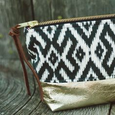 Gold Leather Ikat Cosmetic Bag.