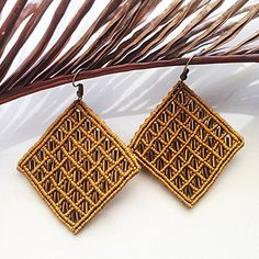 Macrame earrings DIY light brown macrame earrings beaded