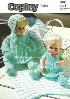 Vintage Doll clothes to fit 12 or 16ins doll 4 ply Copley 9102 knitting pattern to fit 12 or 16ins doll - PDF