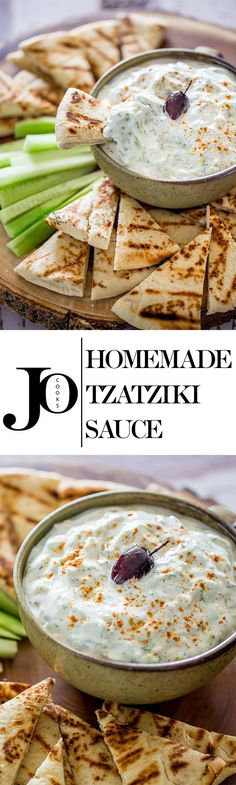 Homemade Tzatziki Sauce - a refreshing and cool sauce made with yogurt, cucumber and dill, perfect for dipping, on gyros or an easy snack! - USED 4 CLOVE GARLIC - via Sauce Tzatziki, Homemade Tzatziki Sauce, Tzatziki Sauce Recipe Greek Yogurt, Greek Yogurt Dips, Snacks Für Party, Easy Snacks, Snacks Homemade, Appetizer Dips, Appetizer Recipes