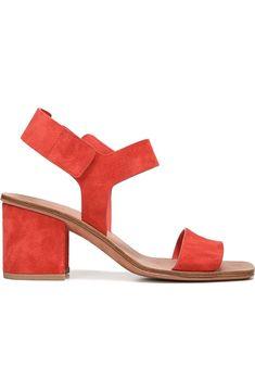 coral block heel sandals