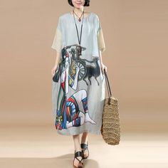 Women Retro Loose Linen Casual Printing Shoulder Sleeves Dress