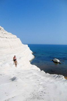 Scala dei Turchi (the Stair of the Turks). It was a white stone beach off of Sicily's southern coast, and all you saw were white and blue for miles. It was breathtaking.