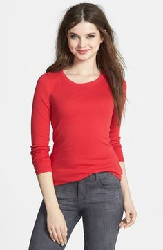 Caslon® Long Sleeve Fine Ribbed Crewneck Tee (Regular & Petite) available at #Nordstrom