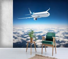 Custom Wall Murals, 3d Wall Murals, 3d Wallpaper, Airplane View, Fighter Jets, Aircraft, Environment, Clouds, Black And White