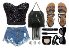 """""""Concert Look"""" by atomic-jane ❤ liked on Polyvore featuring STELLA McCARTNEY, Billabong, Marc Jacobs, Karen Walker, Topshop, Candie's, black and festival"""