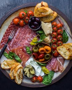 Next level charcuterie plate. Just need some wine now. Meze Platter, Antipasto Platter, Charcuterie Plate, Charcuterie And Cheese Board, Cheese Boards, Food Platters, Cheese Platters, Party Platters, Wine Recipes