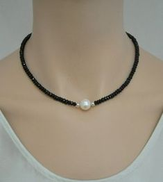 Black spinel necklace with freshwater pearl and by SilverSerenade, $60.00