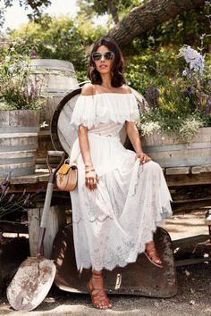 @roressclothes closet ideas #women fashion outfit #clothing style apparel White Off-the-Shoulder Maxi Dress