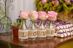 So pretty, and this proves you don't have to have a huge expensive bouquet to make a statement. Wedding Table, Diy Wedding, Rustic Wedding, Wedding Flowers, Deco Champetre, Wedding Decorations, Table Decorations, Bottle Crafts, Table Centerpieces