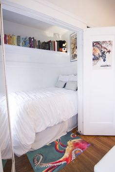 Cool idea; in a apt that is strapped for space this renter put her bed in the closet (I mean you live in your living room right) murphy bed but better.