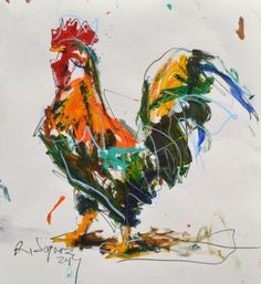 Bold Rooster Painting, painting by artist Robert Joyner