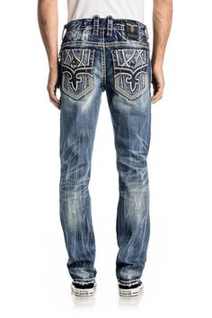 Rock Revival Official Website - Shop for the latest Rock Revival jeans, shorts, and jackets Rock Revival Jeans, Denim Fashion, Jeans Style, Jeans Pants, Casual Wear, Country, How To Wear, Clothes, Mens Jeans Outfit