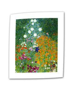 Gustav Klimt 'Farm Garden' Flat Canvas Art