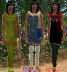 ModTheSims - Shalwar Kameez - Middle Eastern / East Asian Women's Clothes (set of 5)