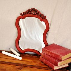 Antique Red Mirror Small Wall Mirror in by TheVelvetBranch on Etsy, $42.00