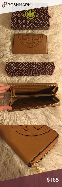 """Tory Burch All-t Zip Continental Wallet NEW Tory Burch All-T Zip Continental Wallet! Color is bark! AUTHENTIC. graphic, oversized logo details the front and back. giving it a modern, dimensional look. wit multiple pockets & a classic long shape that fits all full-length bills Pebbled leather. Zip around closure. 2 interior currency compartments. Center zipper compartment. 8 interior credit card slots. Height: 4.2"""" Length: 7.50""""  No trades No lowballing ✅Bundle Discount  Authentic items…"""