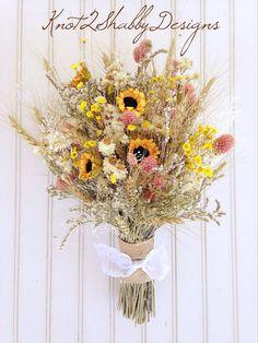 Wedding bouquet - bridal bouquet - sunflower bouquet - wheat - amobium - wildflower bouquet - dried flowers - rustic wedding - country on Etsy, $95.00