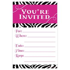These fun and bright pink and zebra print fill in invitations are great for sweet 16s, teen birthdays, bachelorette parties, 30th birthdays and more. Invites measure 4 x 6 and come with white announce