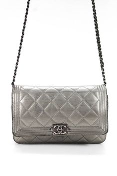 Chanel Womens Boy Wallet On Chain Crossbody Handbag Quilted Leather Gray df45a4cd5328c