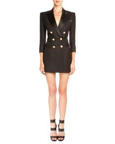 Pique-Knit Double-Breasted Blazer Dress, Black by Balmain at Bergdorf Goodman. Elegant Summer Dresses, Summer Dresses For Women, Blazer Dress, Jacket Dress, Pants Outfit, Batik Fashion, Blue Cocktail Dress, Cocktail Dresses, Tuxedo Dress