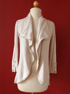 CACHE Beige Metallic Trim Open Drape Cardigan Sweater Size S #Cach #Cardigan