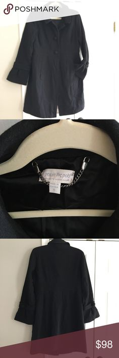 SALE!! Pea in the Pod maternity coat jacket Excellent condition maternity Pea coat from a Pea in the Pod. Perfect for the winter coming up! Color is true black, and fits true to size. Adorable bell ruffle like sleeves at the wrist areas, button down front. Used for a winter pregnancy, and never again ✨ Make offer! ✨ A Pea in the Pod Jackets & Coats Pea Coats