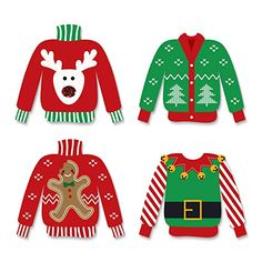 Ugly Sweater - DIY Shaped Christmas Party Small Paper Cut Outs - Holiday Party DIY Decoration Kit - Tacky Sweater Party - 24 pc. Ugly Sweater Cookie, Tacky Sweater, Ugly Sweater Party, Ugly Christmas Sweater, Christmas Paper, Christmas Holidays, Christmas Crafts, Diy Party Decorations, Diy Decoration