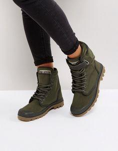 Palladium Solid Tanger Khaki Twill Flat Ankle Boots #sponsored