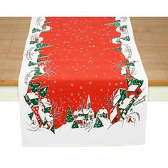 This Holiday Home Christmas Decor Table Runner is a high quality table linen with a vintage style print that captures that nostalgic Christmas magic! Measures 16 x 54 inches. Retro Christmas Tree, Christmas Table Cloth, Christmas Decorations, Table Decorations, Christmas Stuff, Christmas Holiday, Xmas, Holiday Decor, Decorative Accessories