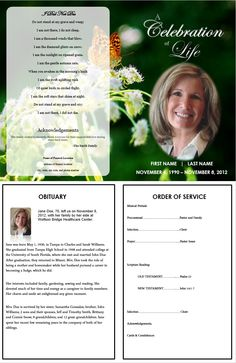 Funeral Program Template with Butterfly . More Single Fold Memorial Programs available at FuneralPamphlets.com and more for a memorable memorial and funeral service. #FuneralCards #MemorialPrograms #FuneralPrograms