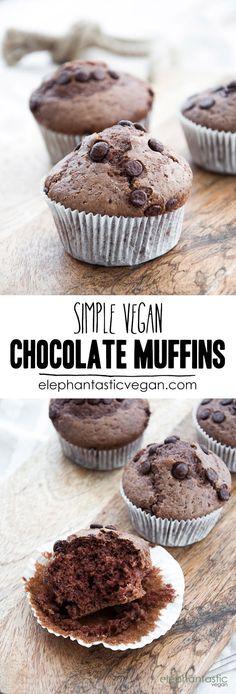 Simple Vegan Chocolate Muffins | http://ElephantasticVegan.com