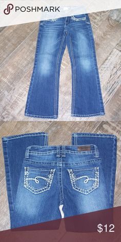 "Justice Premium Simply Low Bootcut Jeans- size 7R Embellished, simply low, bootcut Justice jeans. Cotton, polyester and spandex blend. EUC  approx. measurements: inseam: 20.5"" rise: 6.5"" Justice Bottoms Jeans"