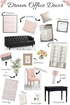 Dream Office Decor: Classic, Feminine Design - Blissfully Bubbly : Classic, feminine office decor that is timeless and energizing all at the same time. The perfect office decor is a must to keep you motivated and on track. Feminine Office Decor, Chic Office Decor, Home Office Space, Home Office Design, Office Designs, Bureau Design, Design Desk, Diy Bedroom Decor, Home Decor