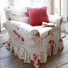 Roses- Kate Forman fabric - love this fabrid ~ want for my office, 'she cave' Decor, Furniture, Shabby Chic Decor, Shabby, Cottage Decor, Chic Decor, Home Decor, Shabby Chic Furniture, Red Decor