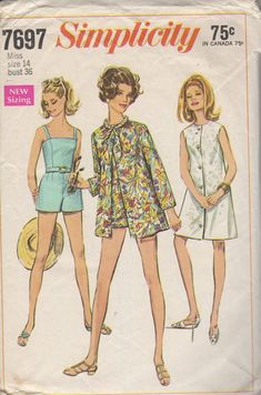 1960's Misses' Coat-Dress or Beach-Jacket and Bathing-Suit With Panties Simplicity 7697